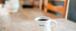 coffee mug that says begin so you can update your blog